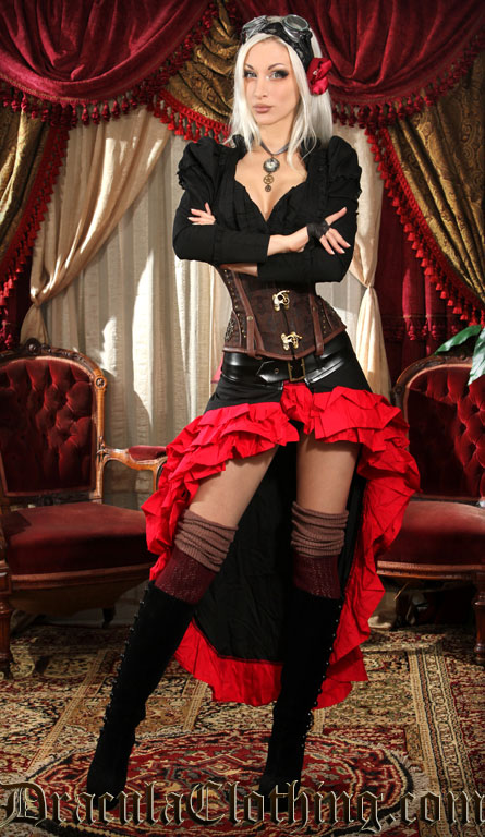Black and Red Vex Skirt