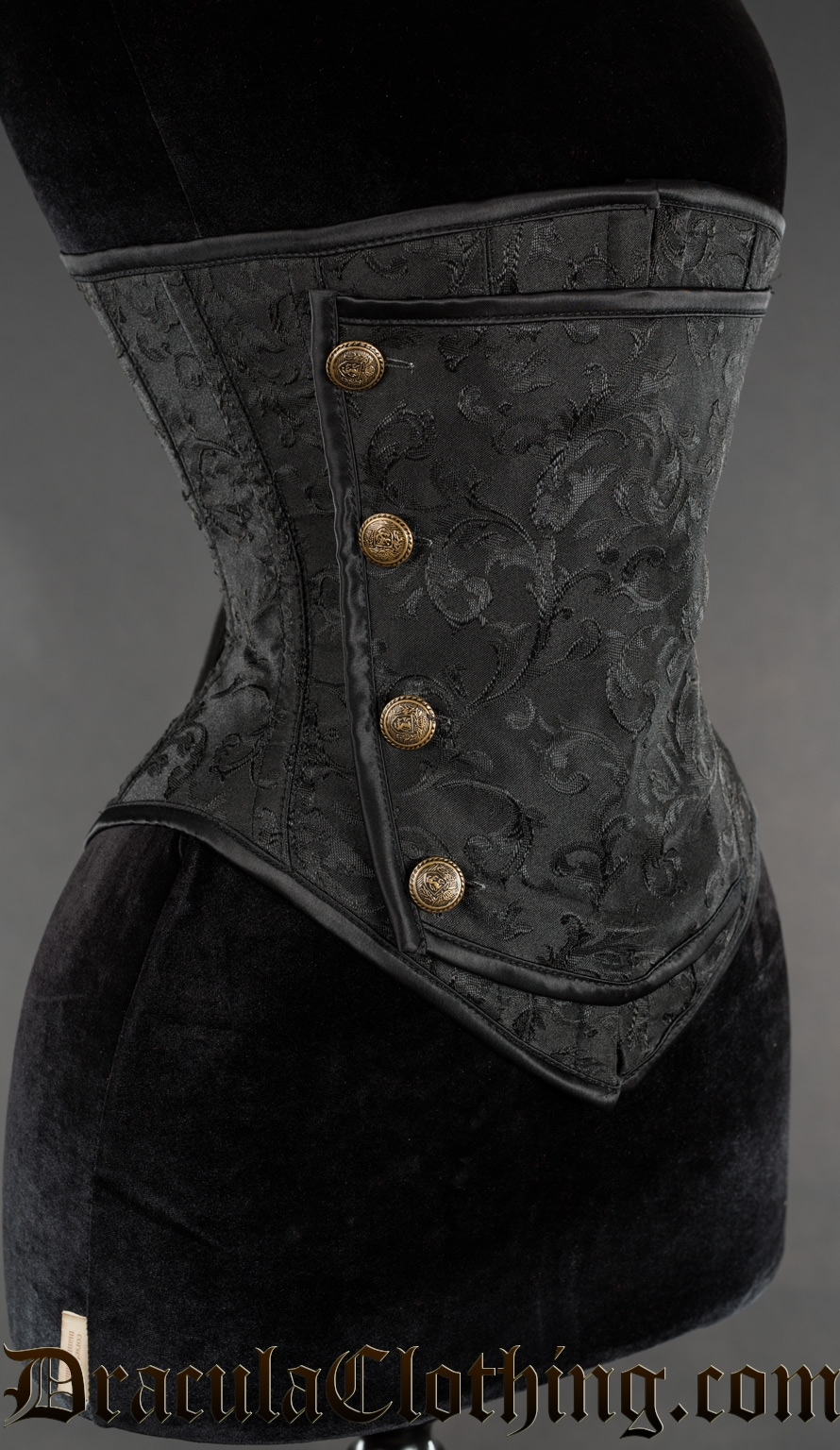 Black Brocade Officer Underbust Corset