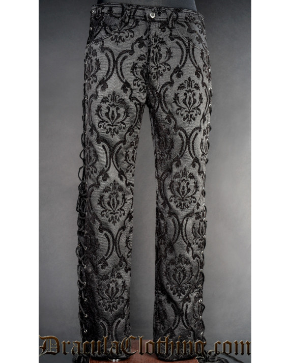 Black Brocade Laced Pants New Sizes