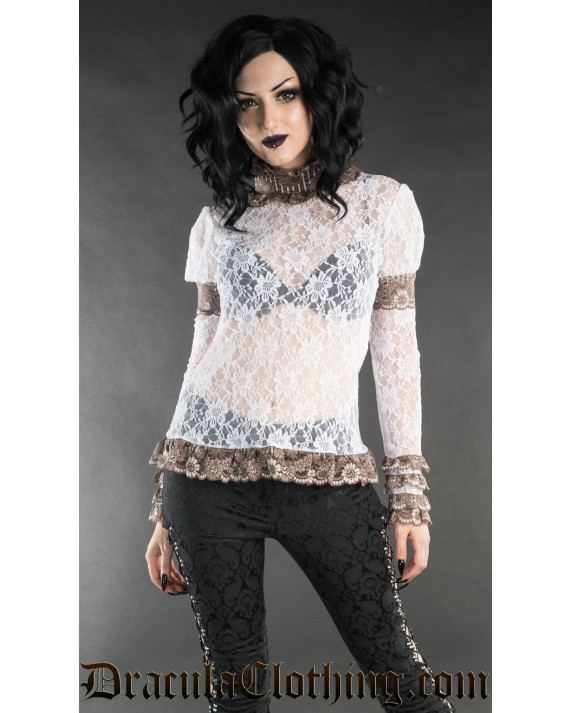 Brown Steampunk Lace Top