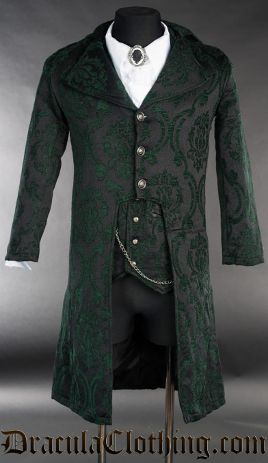 Green Brocade Elegant Tailcoat