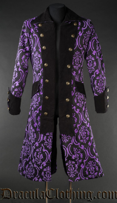 Purple Brocade Long Pirate Coat