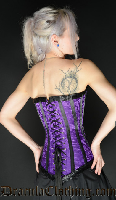 Purple Brocade Romantic Clasp Corset