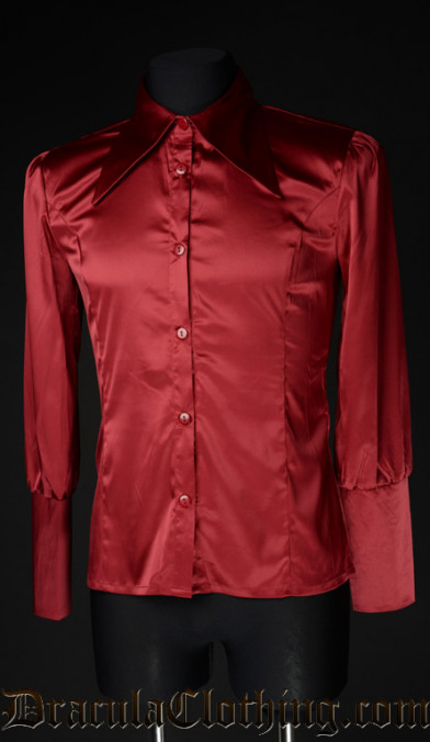 Red Satin Cravat Shirt