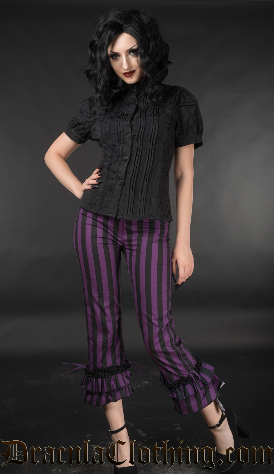 Purple Striped Ruffle Pants