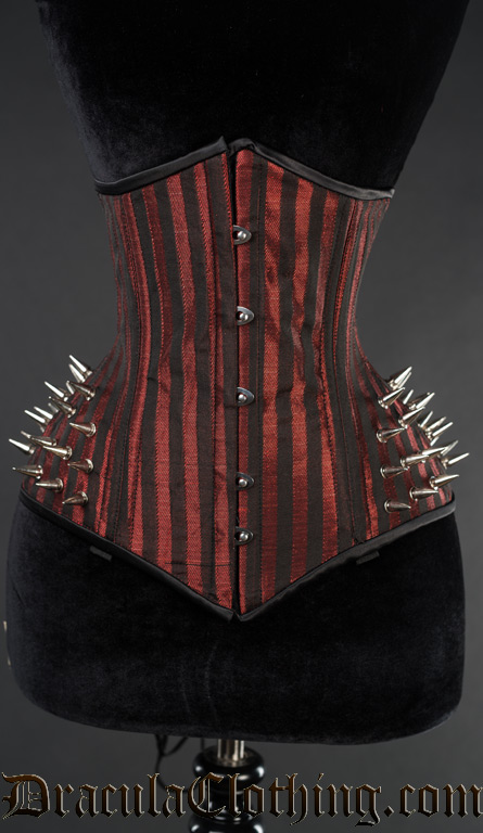 Red Striped Extreme Waist Spike Corset